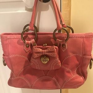 Isabella Fiore Pink Leather Tote